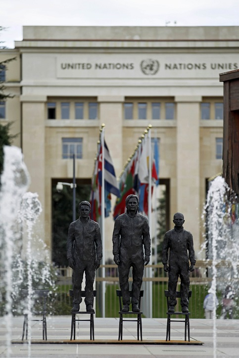 "Whistleblowers Edward Snowden, Julian Assange and Chelsea Manning are seen in the installation ""Anything to Say?"" by Italian artist Davide Dormino on the Place des Nations in front of the United Nations European headquarters in Geneva, Switzerland Sept. 14, 2015."