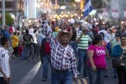 Demonstrators take part in a march to demand the resignation of Honduras' President Juan Orlando Hernandez in Tegucigalpa, August 28, 2015.