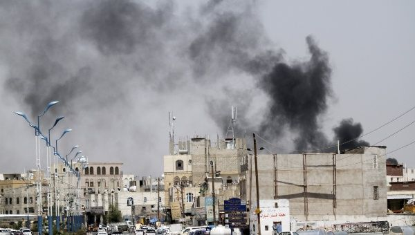 Smoke rises from the site of a Saudi-led air strike in Yemen