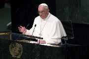 Pope Francis addresses attendees in the opening ceremony to commence a plenary meeting of the United Nations Sustainable Development Summit 2015 at the United Nations headquarters in Manhattan, New York September 25, 2015.