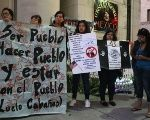 Protesters hold a demonstration in front of the General Consulate of Mexico in the U.S.