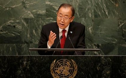 United Nations Secretary General Ban Ki-moon addresses attendees during the 70th session of the General Assembly at U.N. Headquarters in New York, Sept. 28, 2015.