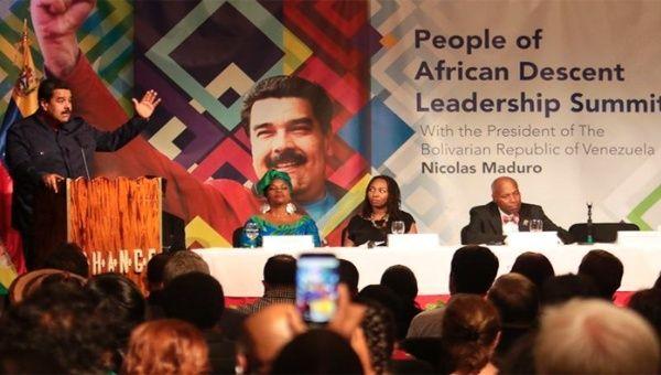 Venezuelan President Nicolas Maduro speaking at the conference in Harlem