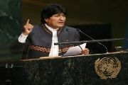 Evo Morales calls for the end of capitalism.