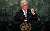 President Tabare Vazquez of Uruguay addresses attendees during the 70th session of the United Nations General Assembly at the U.N. headquarters in New York, Sept. 29, 2015.