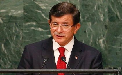 Prime Minister Ahmet Davutoglu of Turkey addresses the 70th session of the U.N. General Assembly, at the U.N. Headquarters in New York, Sept. 30, 2015.