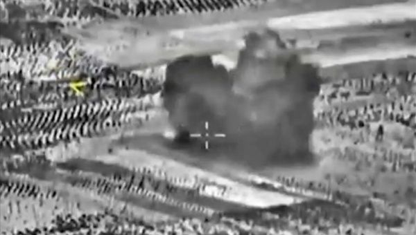 A handout frame grab taken from a video footage made available on the official website of the Russian Defence Ministry on 02 October 2015 claims to show a strike carried out by Russian warplanes near Maarrat Al-Nuuman, Idlib province, Syria, 02 October 2015.