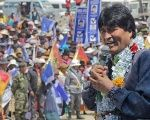 President Evo Morales speaks to a crowd in Viacha, Bolivia, where the head of state said he was ready to continue serving the Bolivian people, October 2, 2015.