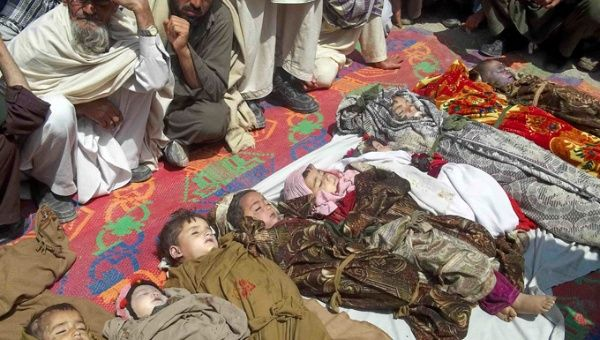 A NATO airstrike killed 10 children and eight other people in eastern Kunar province of Afghanistan April 7, 2013.