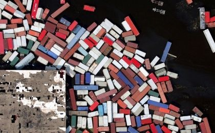 Cargo containers after Hurricane Katrina