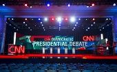The stage is set for the first democratic presidential candidate debate to be held at the Wynn Hotel in Las Vegas, Nevada Oct. 13, 2015.