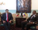 Venezuelan President Nicolas Maduro meets with prime minister of Antigua and Barbuda, Gaston Browne.