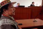 Colombian Indigenous leader and activist Feliciano Valencia at a court hearing. Supporters say his recent jail sentence was politically motivated.