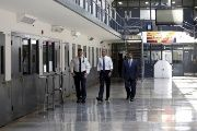 U.S. President Barack Obama tours the El Reno Federal Correctional Institution in El Reno, Oklahoma.