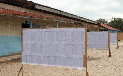 Voters' lists are seen at a polling station in Brazzaville, Congo Republic, October 25, 2015.