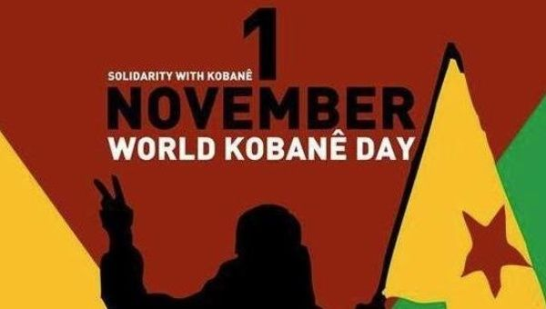Publicity for World Kobane Day this Nov. 1.