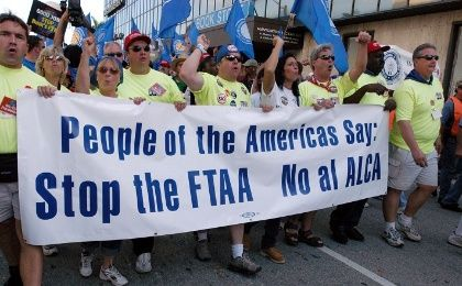 A 2003 protest against the FTAA, known as ALCA in Spanish.