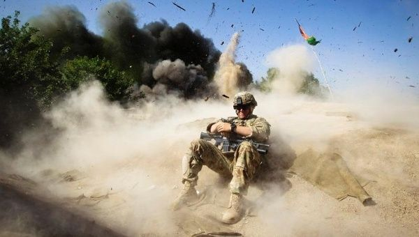U.S. Army soldier during a controlled detonation in Kandahar province, Afghanistan.