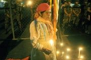 An Indigenous woman protests outside the Presidential Palace in Tegucigalpa, Honduras.