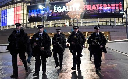 Armed police officers outside the stadium before the England vs. France international friendly. Wembley Stadium, London, UK, Nov. 17, 2015.