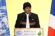Bolivian President Evo Morales advocates for system change in order to effectively address climate change at the Paris Cop21 climate summit.