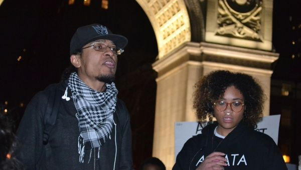 Activist Anthony Robledo speaks at the New York rally in November.
