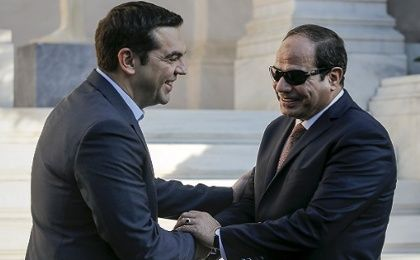 Greek Prime Minister Alexis Tsipras (L) welcomes Egyptian President Abdel Fattah el-Sisi at the Maximos Mansion, in Athens, Greece.