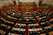 A general view is seen of the Greek parliament in Athens