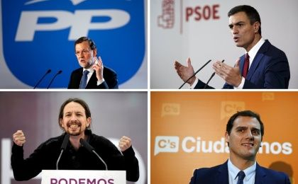 Four parties are vying for control of Spain's parliament on December 20.