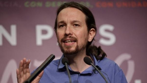 Podemos party leader Pablo Iglesias speaks during a news conference in Madrid, Spain, December 21, 2015.