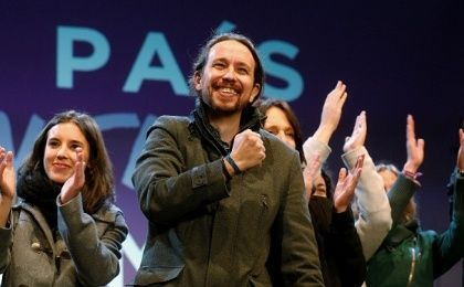 Podemos party leader Pablo Iglesias gestures to supporters after results were announced in Spain's general election in Madrid, Spain, Dec. 21, 2015.
