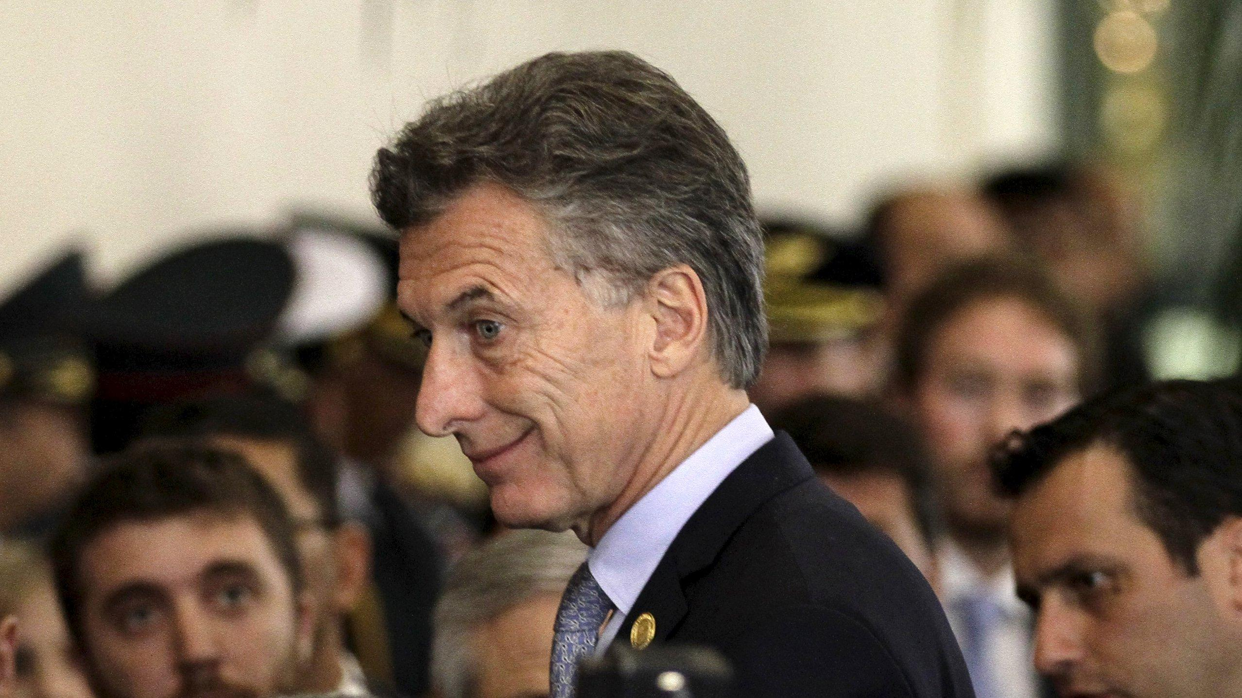 Argentina's President Mauricio Macri smiles at the Summit of Heads of State of MERCOSUR.