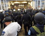 Police blocked Black Lives Matter protesters at the Mall of America on Wednesday.