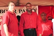 St. Lucia Labour Party Leader and Prime Minister Kenny Anthony (left) with two of his candidates ahead of the 2011 General Elections