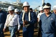 President Evo Morales visits Bolivia's Bulo Bulo power plant in the department of Cochabamba.