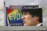A poster of Bolivia's President Evo Morales is seen displayed at the National Congress building in La Paz Sept. 25, 2015.