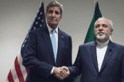 United States Secretary of State John Kerry (L) meets with Mohammad Javad Zarif, Minister of Foreign Affairs of Iran, at the United Nations in New York, Sep. 26, 2015.