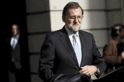 Spain's acting prime minister, Mariano Rajoy, leaves Congress after the first session of parliament following a general election in Madrid, Spain, Jan. 13, 2016.