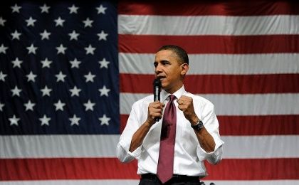 U.S. President Barack Obama delivers a speech in Nashua High School, Feb, 2 2010.