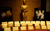 Announcement cards and envelopes which are used by presenters at the Oscars to announce winners are on display at the food and decor preview Feb. 4, 2015