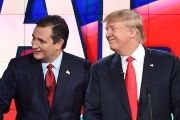 U.S. Republican presidential candidates Donald Trump (R) and Ted Cruz (L)