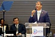 Ecuadorean President Rafael Correa spoke at the assembly of 22 heads of state.