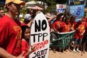 People protest the Trans Pacific Partnership in Maui, Hawaii, July 29, 2015.