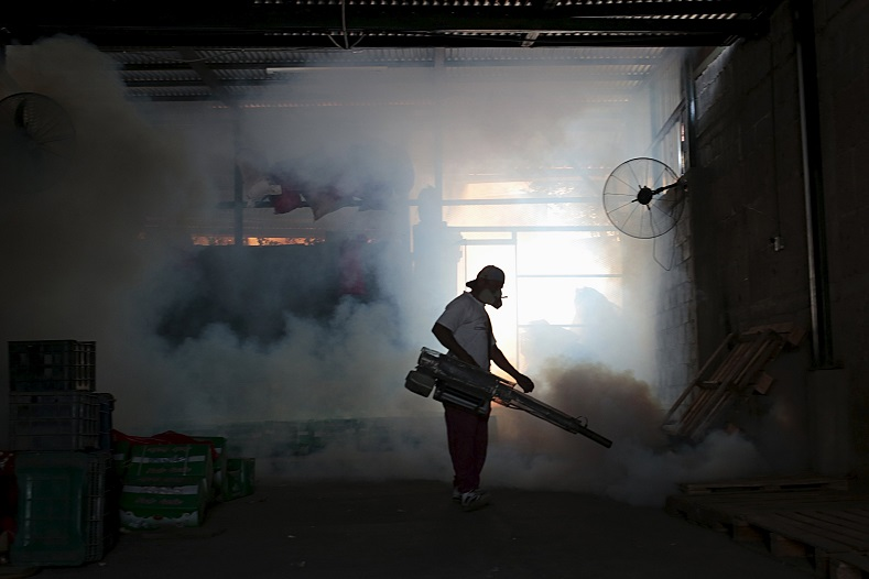 A health ministry worker fumigates a house to kill mosquitoes during a campaign against dengue and chikungunya and to prevent the entry of Zika virus in Managua, Nicaragua January 28, 2016. Nicaraguan government spokeswoman Rosario Murillo announced on Thursday of a new positive case of Zika in Managua city, bringing confirmed cases in the country to three.