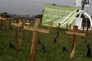 Crosses are left as a protest against the high homicide rate in the country in San Salvador, El Salvador Sept. 1, 2015. El Salvador is still struggling to break the legacy of civil war violence.