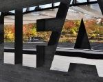 The FIFA logo outside the headquarters in Zurich, Switzerland.