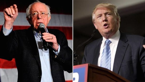 US Democratic presidential candidate Bernie Sanders (L) and Republican presidential candidate Donald Trump.