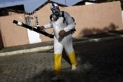 A municipal worker sprays insecticide at the neighborhood of Afogados in Recife, Brazil, Feb. 2, 2016.