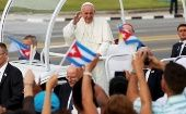 Pope Francis waves upon arriving at Havana's Plaza of the Revolution, September 20, 2015.