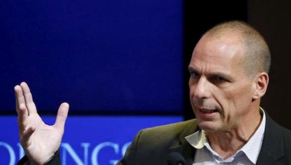 Former Greek Finance Minister Yanis Varoufakis speaks at the Brookings Institution in Washington, D.C., April 16, 2015.